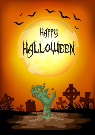 rot: Vector illustration of Halloween background with hand out from the grave