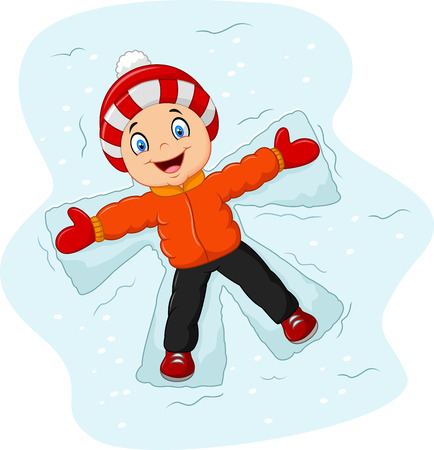 teenagers laughing: Vector illustration of Cartoon little boy lying on the snow