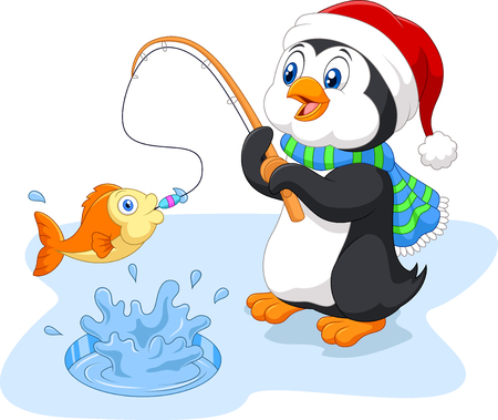 Vector illustration of Cartoon funny penguin fishing Stock Illustratie