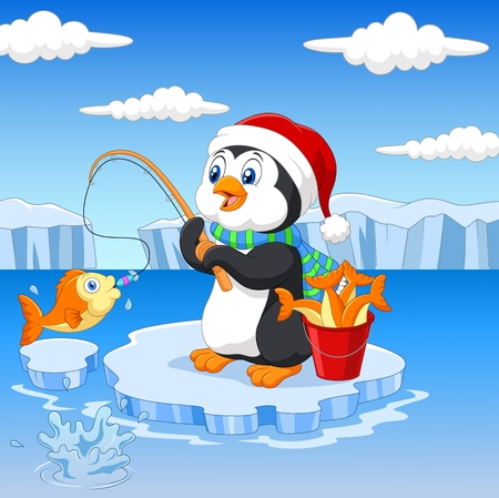aves caricatura: Pesca de dibujos animados de pingüinos en el hielo