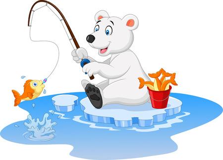 Vector illustration of Cartoon polar bear fishing