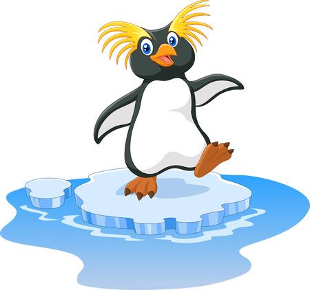 aves caricatura: Ilustración vectorial de dibujos animados de pingüinos de penacho amarillo feliz en el hielo