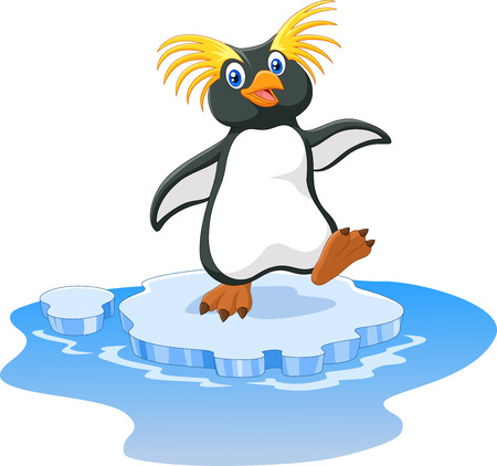 Vector illustration of Happy cartoon penguin rockhopper on ice Illustration
