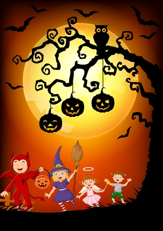 Vector illustration of Happy little kids wearing costume halloween, Halloween background