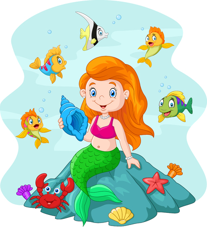 fairy tale mermaid: Vector illustration of Happy little mermaid holding seashell the rock surrounded by fishes