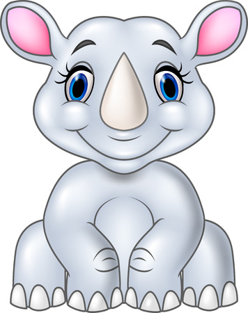 rhino vector: Vector illustration of Cartoon baby rhino sitting isolated on white background Illustration