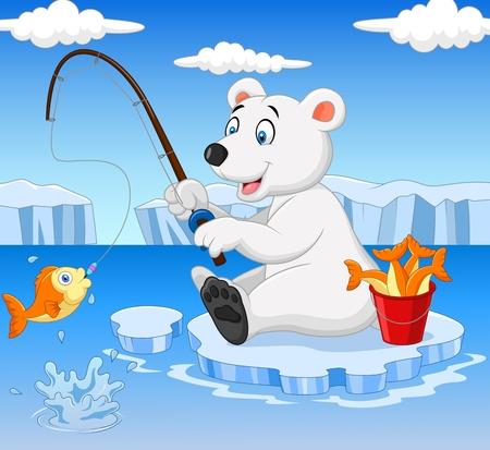 polar bear: Vector illustration of Cartoon polar bear fishing