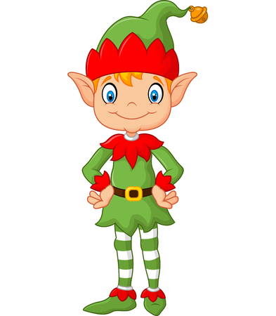 christmas cute: Vector illustration of Cartoon Cute Christmas elf posing