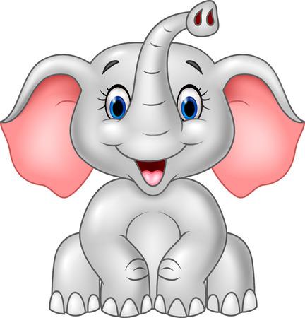 cute: Ilustración vectorial de dibujos animados elefante lindo del bebé aislado en el fondo blanco