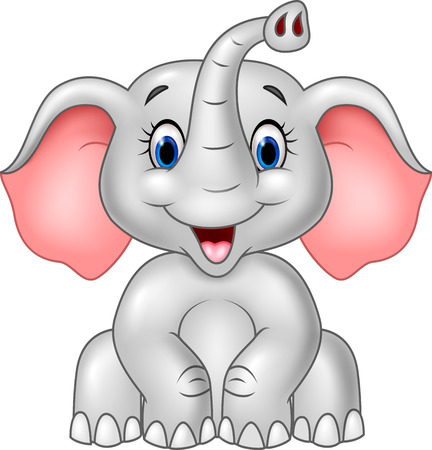 elephant icon: Vector illustration of Cartoon cute baby elephant isolated on white background