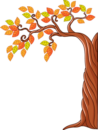 ornamental bush: Vector illustration of Autumn tree isolated on white background Illustration