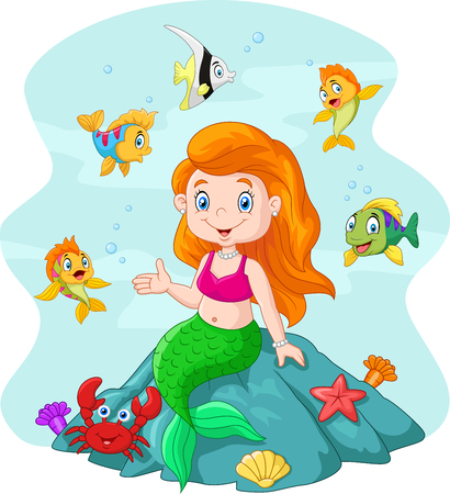 Vector illustration of Happy little mermaid sitting on the rock surrounded by fishes