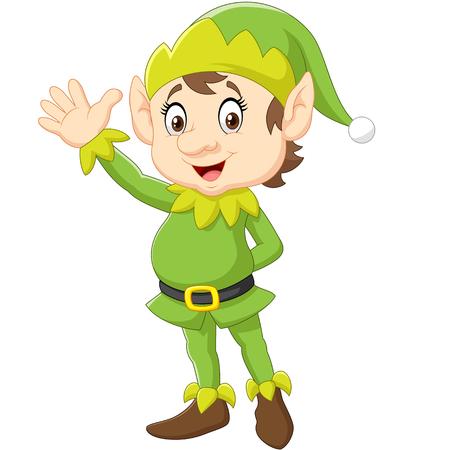 duendes de navidad: Ilustración vectorial de dibujos animados elfo agitando la mano lindo de la Navidad Vectores