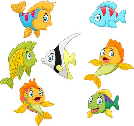 卡通魚收集組的矢量插圖隔絕在白色背景