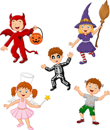 Vector illustration of Cartoon kids wearing Halloween costume collection set Illustration