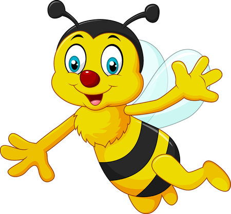 bee on white flower: Vector illustration of Cartoon bee waving hand isolated on white background