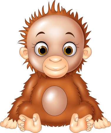 hairy: Vector illustration of Cartoon funny baby orangutan isolated on white background Illustration