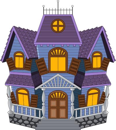 漫画の怖い家白い背景で隔離のベクトル イラスト