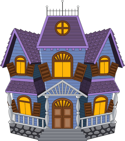 homes exterior: Vector illustration of Cartoon scary house isolated on white background Illustration