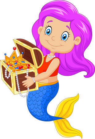 nude girl young: Vector illustration of Cartoon happy mermaid holding treasure chest Illustration
