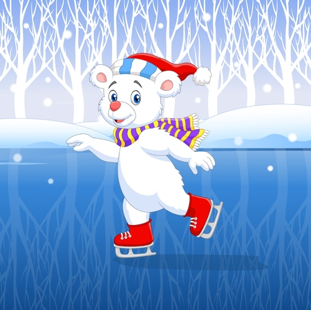 Vector illustration of Cute cartoon polar bear ice skating with winter background