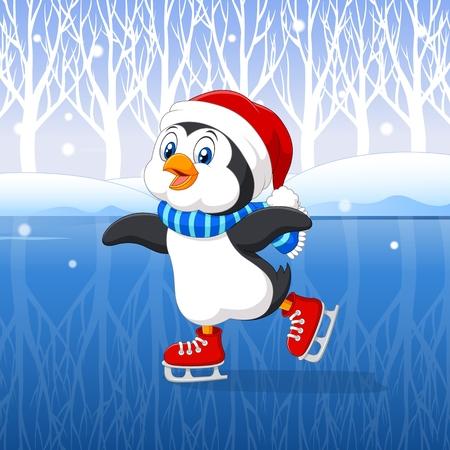 animais: Ilustra��o do vetor do pinguim bonito dos desenhos animados a fazer patinagem no gelo com fundo do inverno