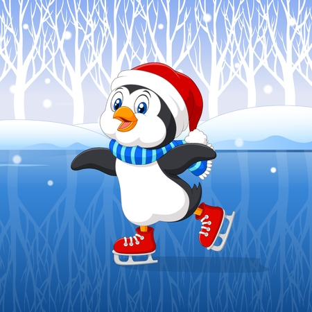 Vector illustration of Cute cartoon penguin doing ice skating with winter background Illustration