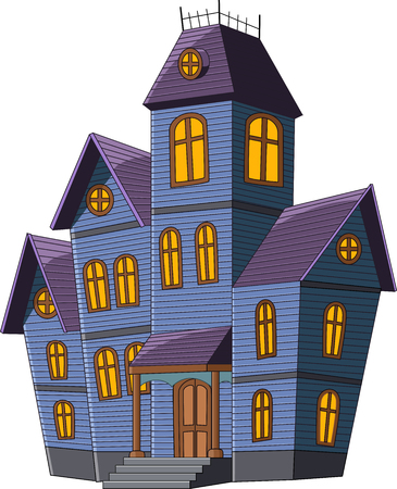 white house: Vector illustration of Cartoon scary house isolated on white background Illustration