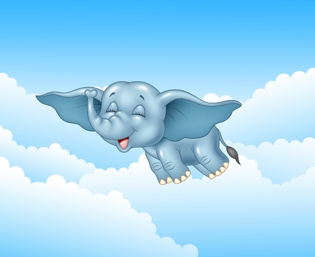 Vector illustration of Cute baby elephant flying on cloud background