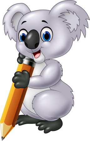 cuddly: Vector illustration of Cute koala holding pencil isolated on white background
