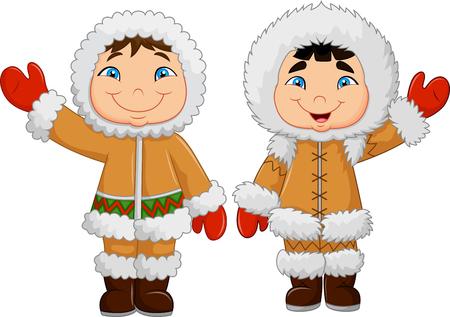 Vector illustration de bande dessinée heureux esquimaux enfants agitant la main
