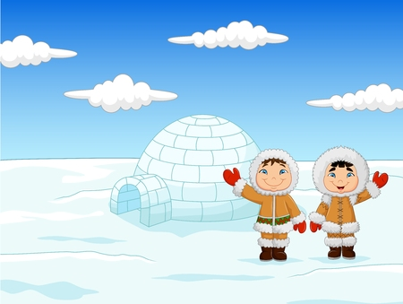 people smiling: Vector illustration of Little kids wearing traditional Eskimo costume with igloo house
