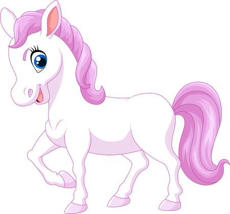 smirk: Vector illustration of Cartoon happy pony horse isolated on white background