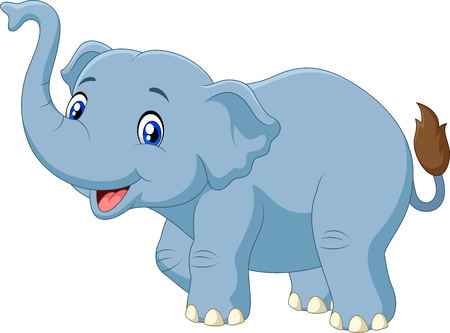 Vector illustration of Cute cartoon elephant isolated on white background