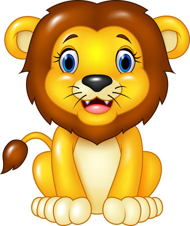 白い背景に分離されて座っている幸せな漫画ライオンのベクトル イラスト