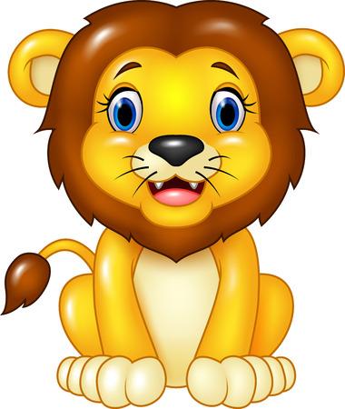 Vector illustratie van Happy cartoon leeuw zitten geïsoleerd op een witte achtergrond