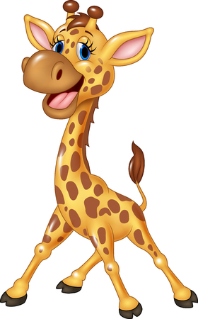 Vector illustration of Cartoon happy giraffe isolated on white background