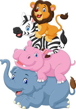 Vector illustration of Cartoon funny animal standing on top of each other