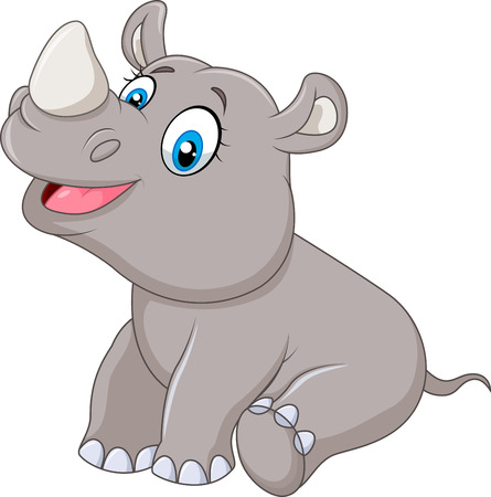 cute animal cartoon: Vector illustration of Cartoon baby rhino sitting isolated on white background Illustration