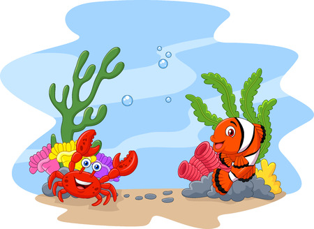 Vector illustration of Cartoon clown fish and crab with corral and anemone background
