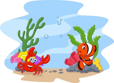 Ilustración del vector de los pescados del payaso de la historieta y el cangrejo con el fondo del corral y anémona