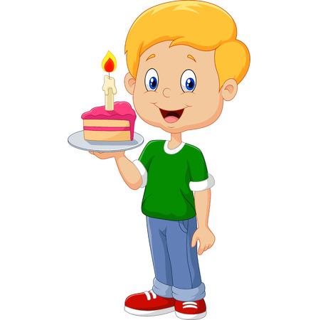 白い背景で隔離の誕生日ケーキを保持している小さな男の子のベクトル イラスト  イラスト・ベクター素材