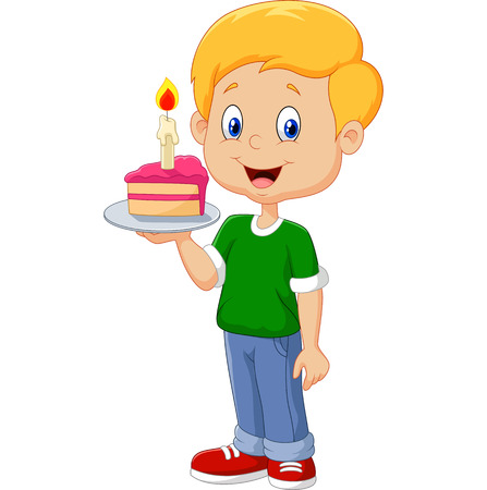 Vector illustration of Little boy holding birthday cake isolated on white background