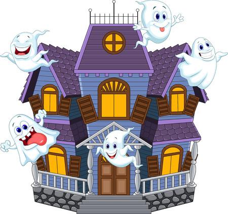 面白い幽霊と漫画怖いハロウィーンの家のベクトル イラスト