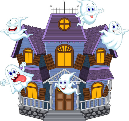 Vector illustration of Cartoon scary Halloween house with funny ghosts