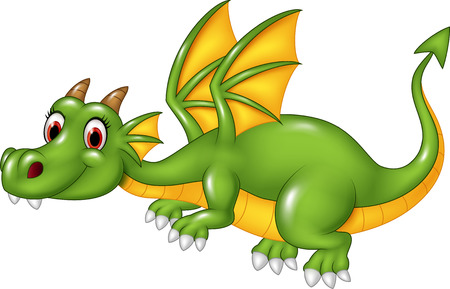 Vector illustration of Cute green dragon flying. isolated on white background