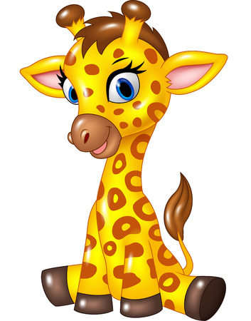 Vector illustration of Adorable baby giraffe sitting isolated on white background