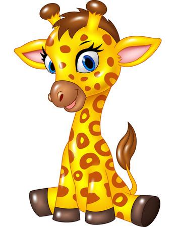Vector illustratie van schattige baby giraffe zitten geïsoleerd op witte achtergrond