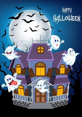 cute background: Vector illustration of Cartoon scary Halloween house with funny ghosts