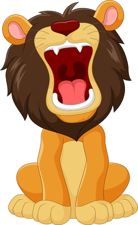 Vector illustration of Cartoon happy lion roaring isolated on white background Vectores